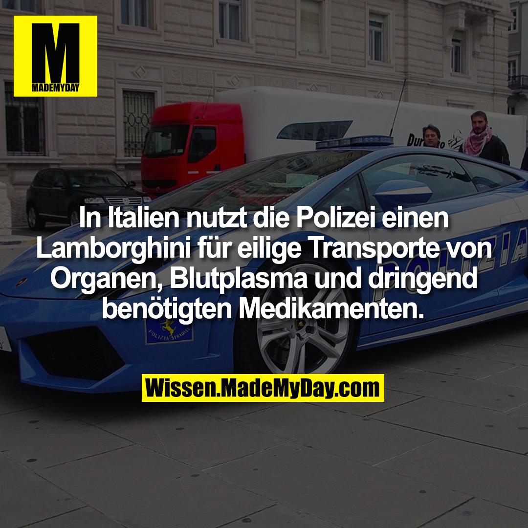 In Italien nutzt die Polizei einen Lamborghini für eilige Transporte von Organen, Blutplasma und dringend benötigten Medikamenten.