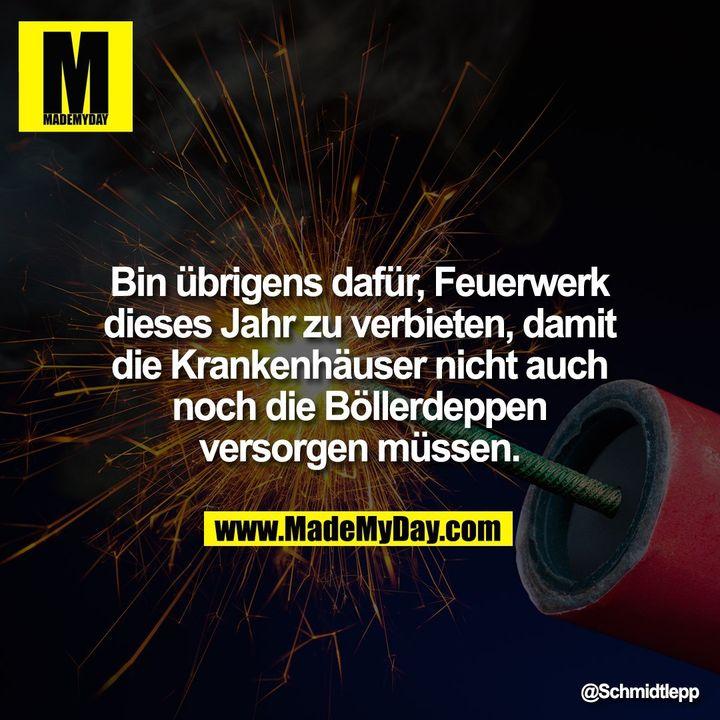 Bin übrigens dafür, Feuerwerk dieses Jahr zu verbieten, damit die Krankenhäuser nicht auch noch die Böllerdeppen versorgen müssen.