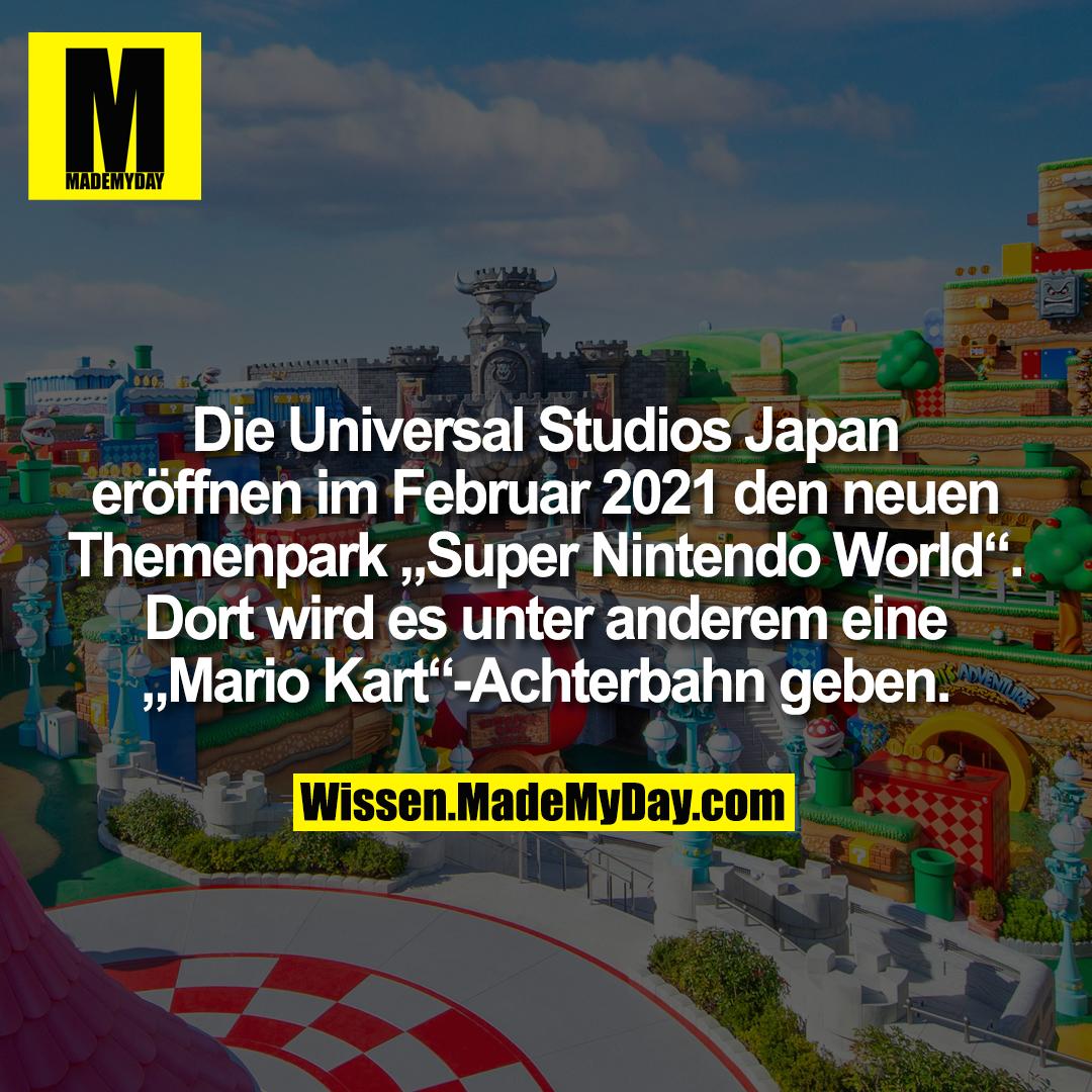 """Die Universal Studios Japan<br /> eröffnen im Februar 2021 den neuen<br /> Themenpark """"Super Nintendo World"""".<br /> Dort wird es unter anderem eine<br /> """"Mario Kart""""-Achterbahn geben."""