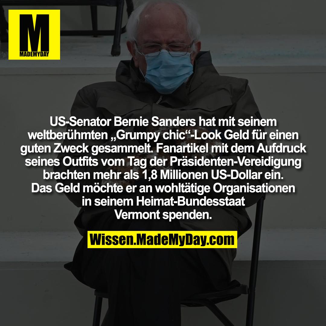 """US-Senator Bernie Sanders hat mit seinem weltberühmten """"Grumpy chic""""-Look Geld für einen guten Zweck gesammelt. Fanartikel mit dem Aufdruck seines Outfits vom Tag der Präsidenten-Vereidigung brachten mehr als 1,8 Millionen US-Dollar ein. Das Geld möchte er an wohltätige Organisationen in seinem Heimat-Bundesstaat Vermont spenden."""