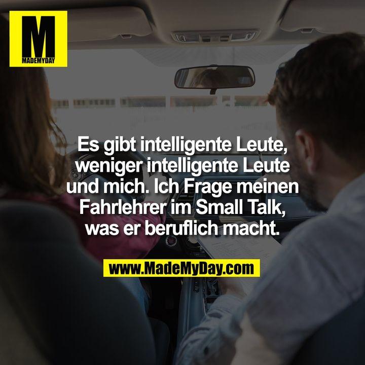 Es gibt intelligente Leute,<br /> weniger intelligente Leute<br /> und mich. Ich Frage meinen<br /> Fahrlehrer im Small Talk,<br /> was er beruflich macht.