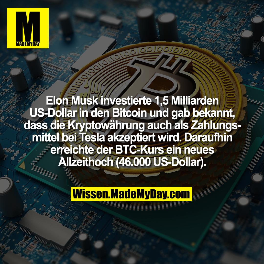 Elon Musk investierte 1,5 Milliarden US-Dollar in den Bitcoin und gab bekannt, dass die Kryptowährung auch als Zahlungsmittel bei Tesla akzeptiert wird. Daraufhin erreichte der BTC-Kurs ein neues Allzeithoch (46.000 US-Dollar).