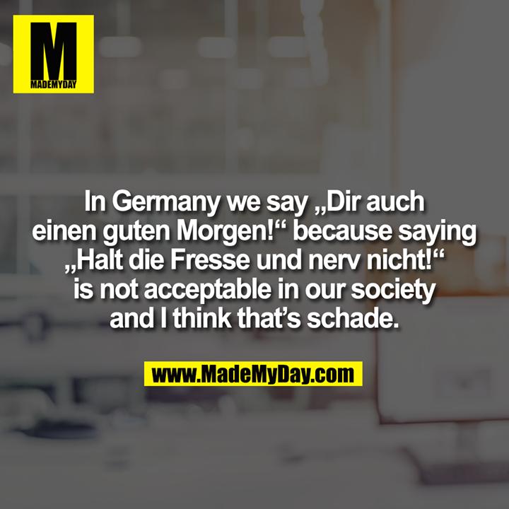 """In Germany we say """"Dir auch<br /> einen guten Morgen!"""" because saying<br /> """"Halt die Fresse und nerv nicht!""""<br /> is not acceptable in our society<br /> and I think that's schade."""