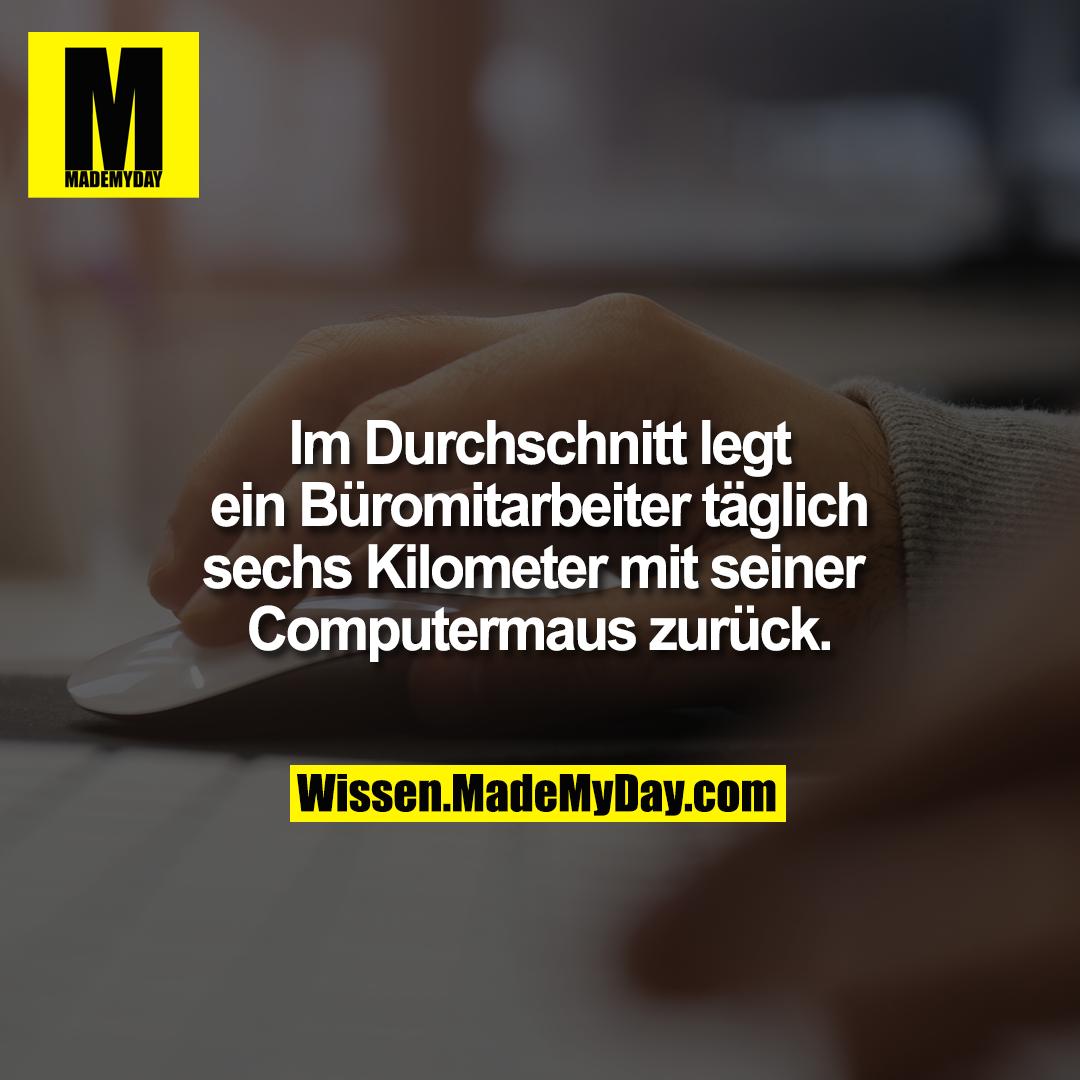 Im Durchschnitt legt ein Büromitarbeiter täglich sechs Kilometer mit seiner Computermaus zurück.