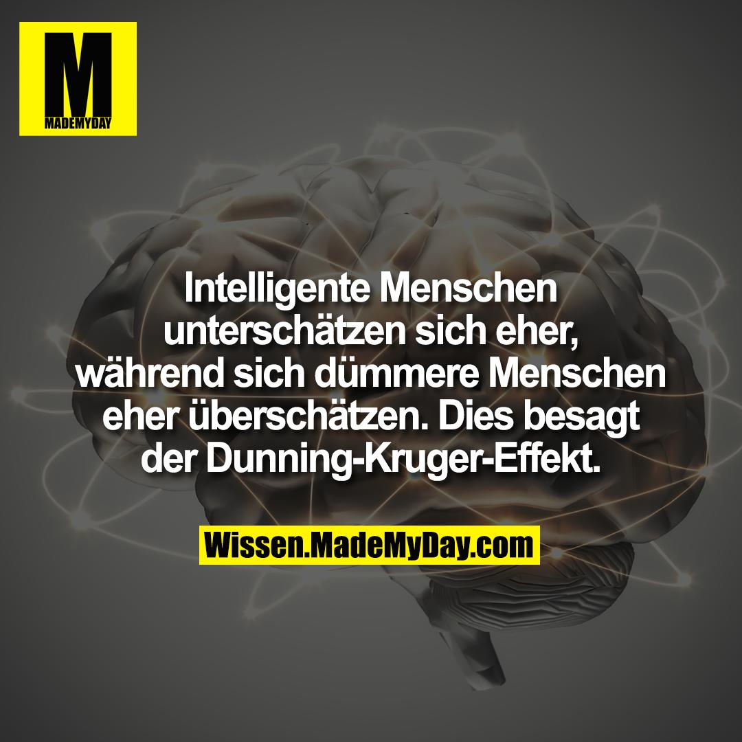 Intelligente Menschen unterschätzen sich eher, während sich dümmere Menschen eher überschätzen. Dies besagt der Dunning-Kruger-Effekt.