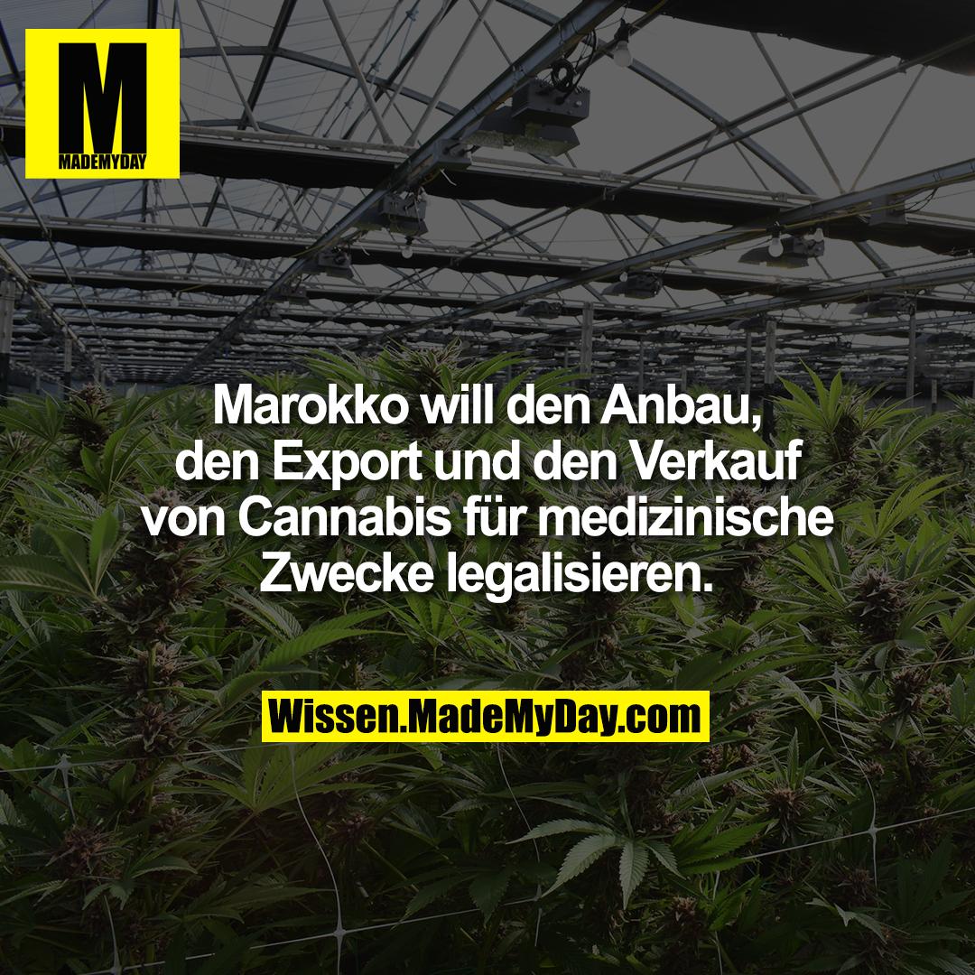 Marokko will den Anbau, den Export und den Verkauf von Cannabis für medizinische Zwecke legalisieren.