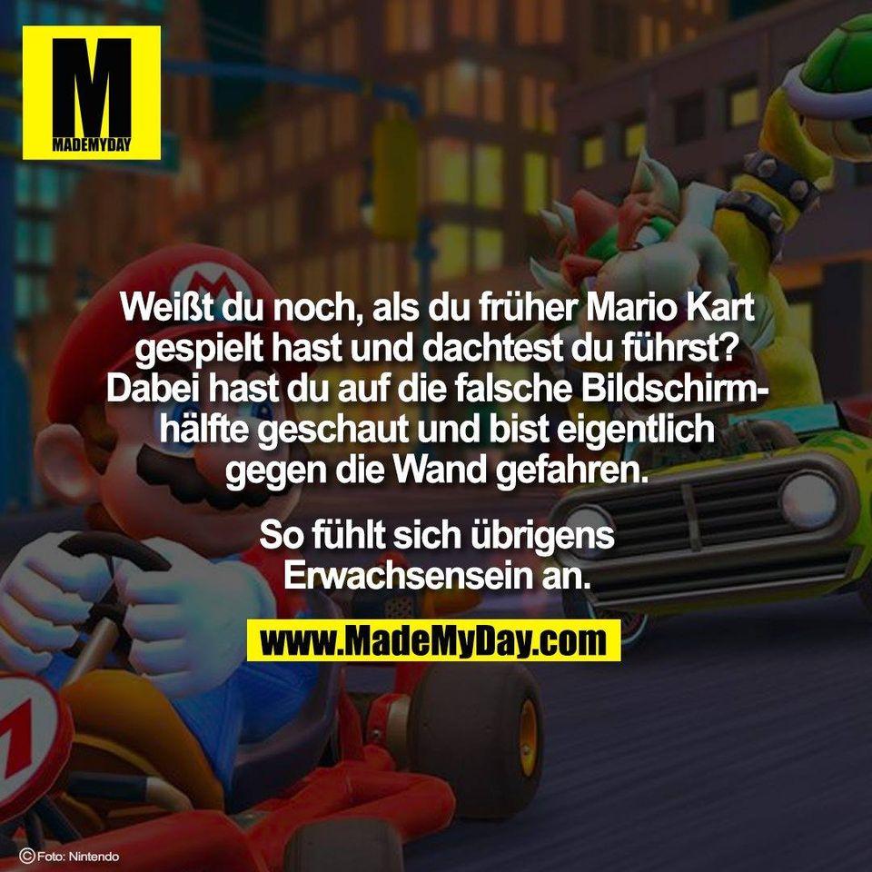 Weißt du noch, als du früher Mario Kart<br /> gespielt hast und dachtest du führst?<br /> Dabei hast du auf die falsche Bildschirm-<br /> hälfte geschaut und bist eigentlich<br /> gegen die Wand gefahren.<br /> <br /> So fühlt sich übrigens<br /> Erwachsensein an.