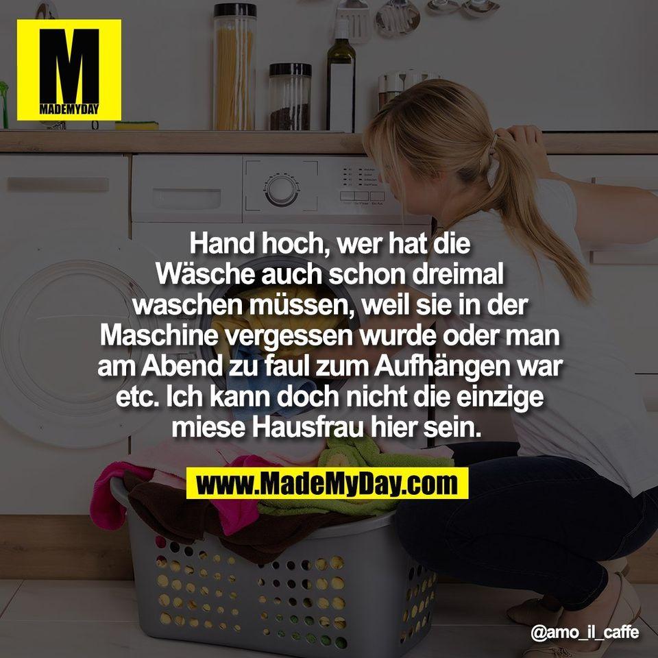 Hand hoch, wer hat die<br /> Wäsche auch schon dreimal<br /> waschen müssen, weil sie in der<br /> Maschine vergessen wurde oder man<br /> am Abend zu faul zum Aufhängen war<br /> etc. Ich kann doch nicht die einzige<br /> miese Hausfrau hier sein.
