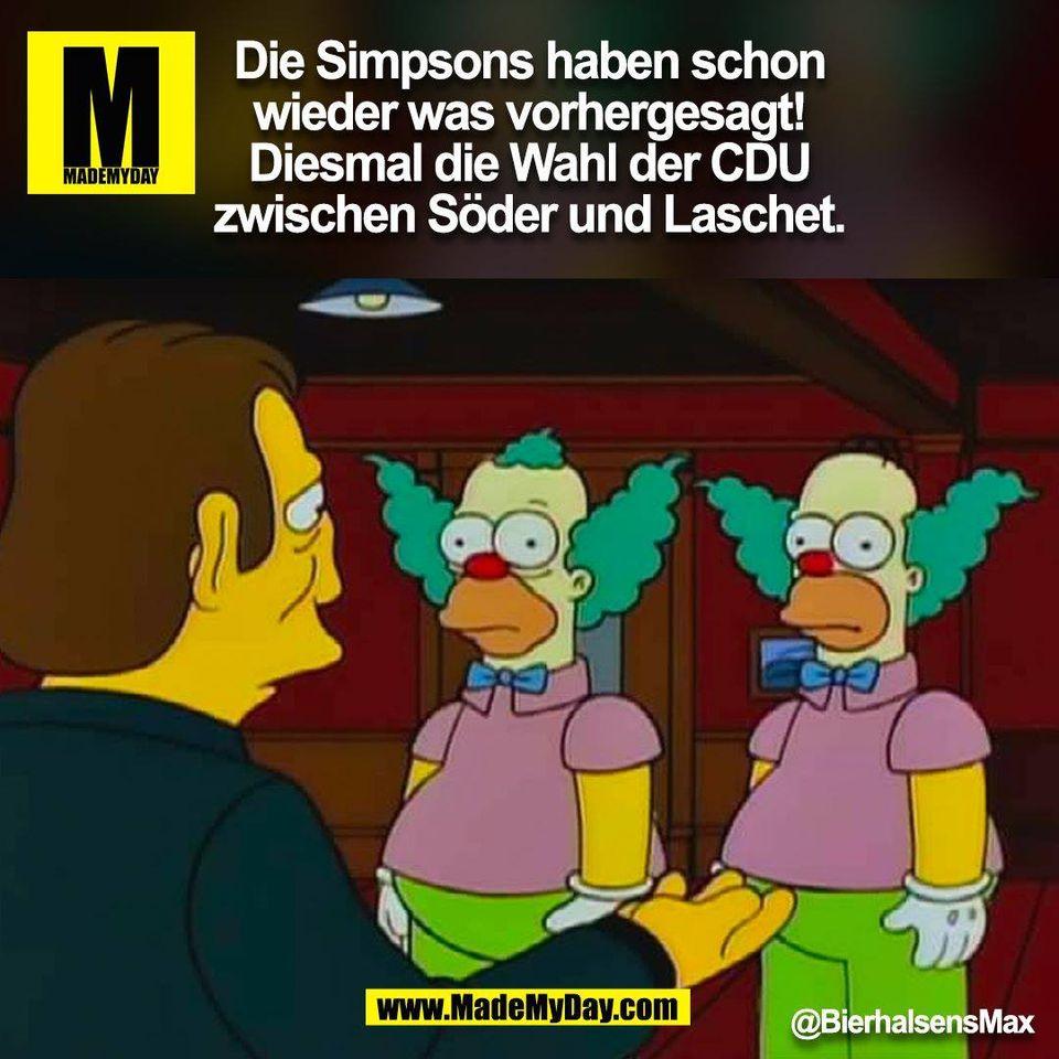 Die Simpsons haben schon wieder was vorhergesagt! Diesmal die Wahl der CDU zwischen Söder und Laschet. <br /> @BierhalsensMax (BILD)