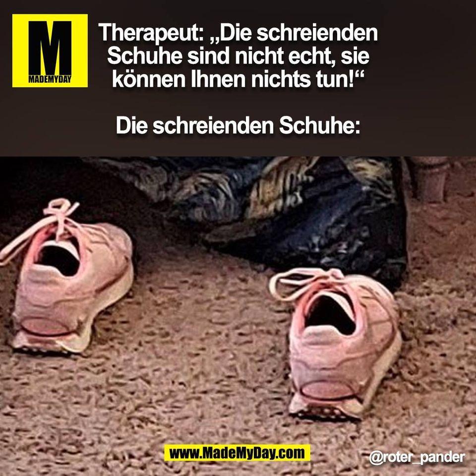 """Therapeut: """"Die schreienden<br /> Schuhe sind nicht echt, sie<br /> können Ihnen nichts tun!""""<br /> <br /> Die schreienden Schuhe: @roter_pander<br /> (BILD)"""