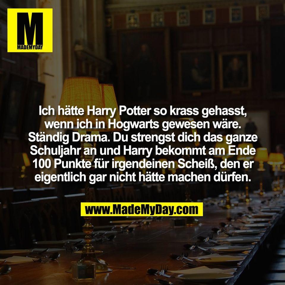 Ich hätte Harry Potter so krass gehasst,<br /> wenn ich in Hogwarts gewesen wäre.<br /> Ständig Drama. Du strengst dich das ganze<br /> Schuljahr an und Harry bekommt am Ende<br /> 100 Punkte für irgendeinen Scheiß, den er<br /> eigentlich gar nicht hätte machen dürfen.