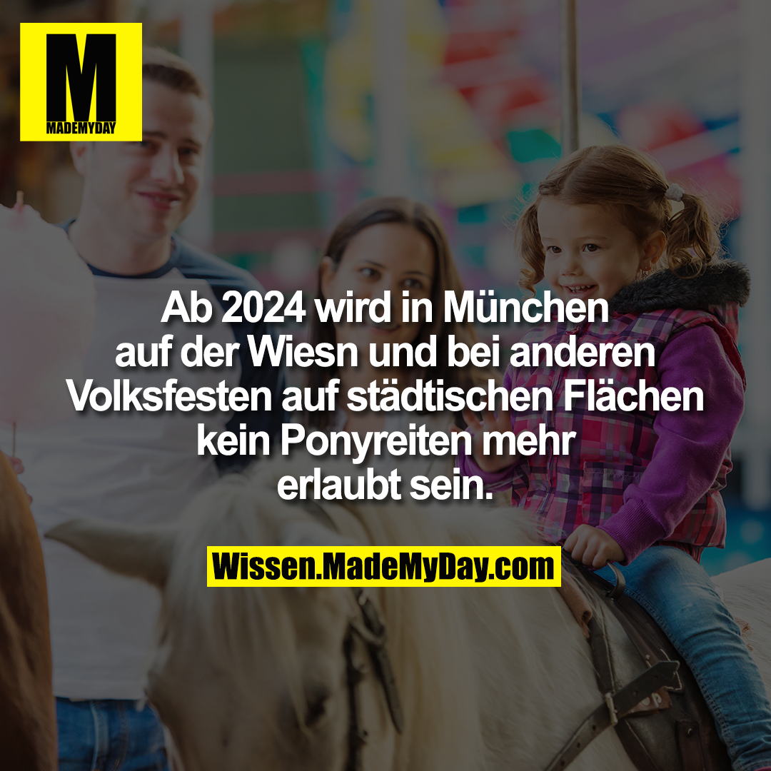Ab 2024 wird in München auf der Wiesn und bei anderen Volksfesten auf städtischen Flächen kein Ponyreiten mehr erlaubt sein.