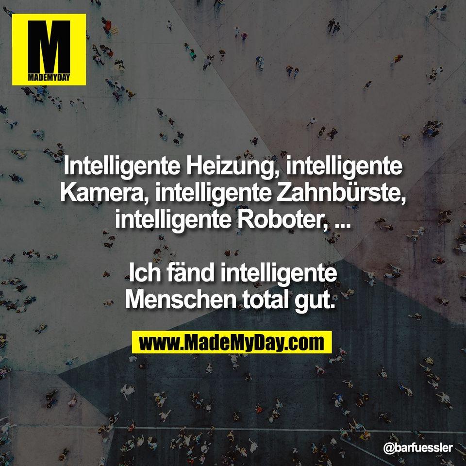 Intelligente Heizung, intelligente<br /> Kamera, intelligente Zahnbürste,<br /> intelligente Roboter, ...<br /> <br /> Ich fänd intelligente<br /> Menschen total gut.