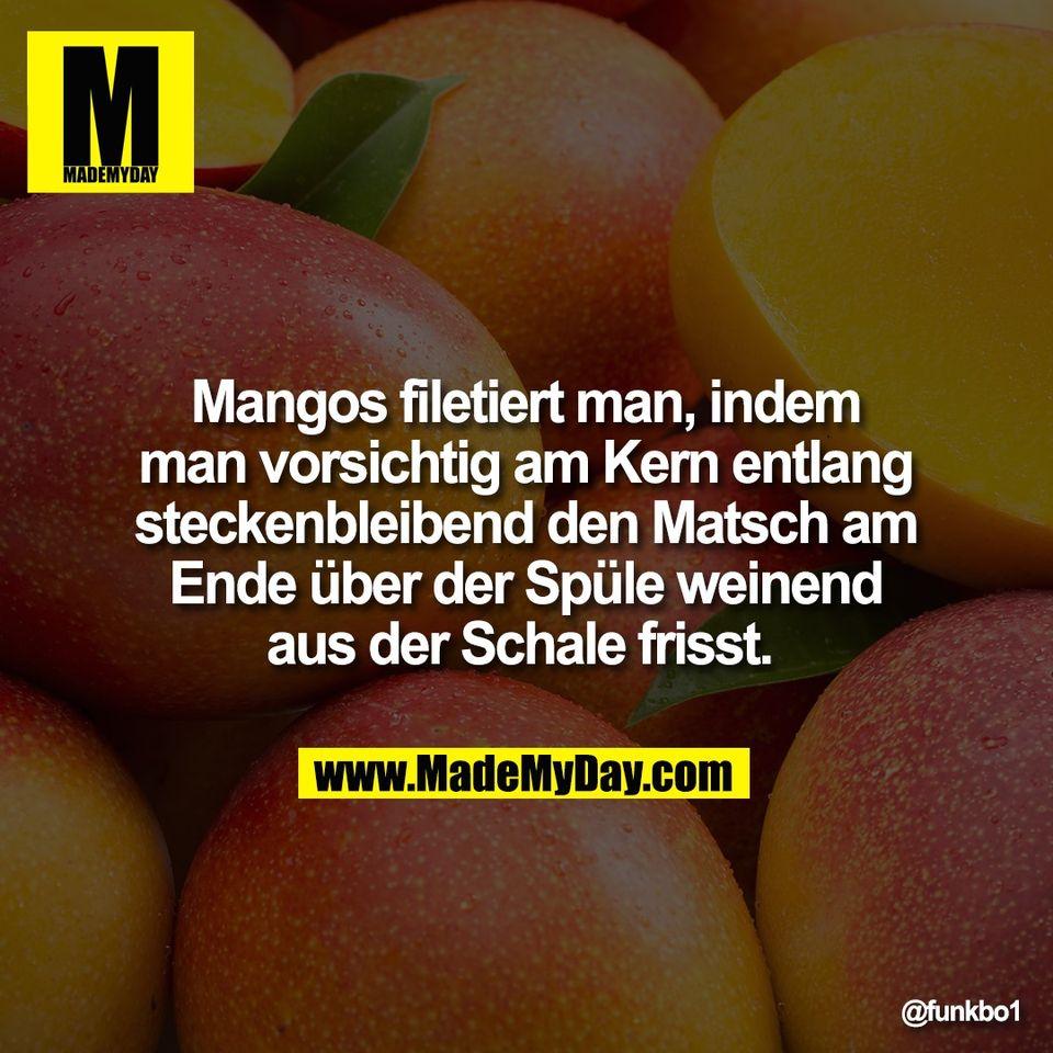 Mangos filetiert man, indem<br /> man vorsichtig am Kern entlang<br /> steckenbleibend den Matsch am<br /> Ende über der Spüle weinend<br /> aus der Schale frisst.