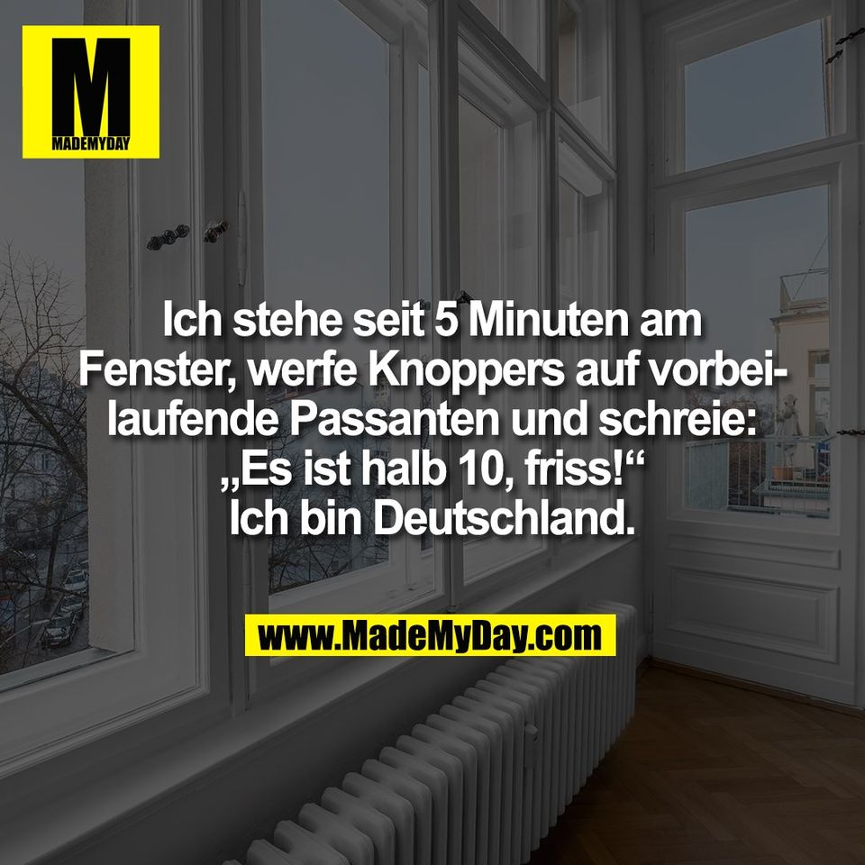 """Ich stehe seit 5 Minuten am<br /> Fenster, werfe Knoppers auf vorbei-<br /> laufende Passanten und schreie:<br /> """"Es ist halb 10, friss!""""<br /> Ich bin Deutschland."""