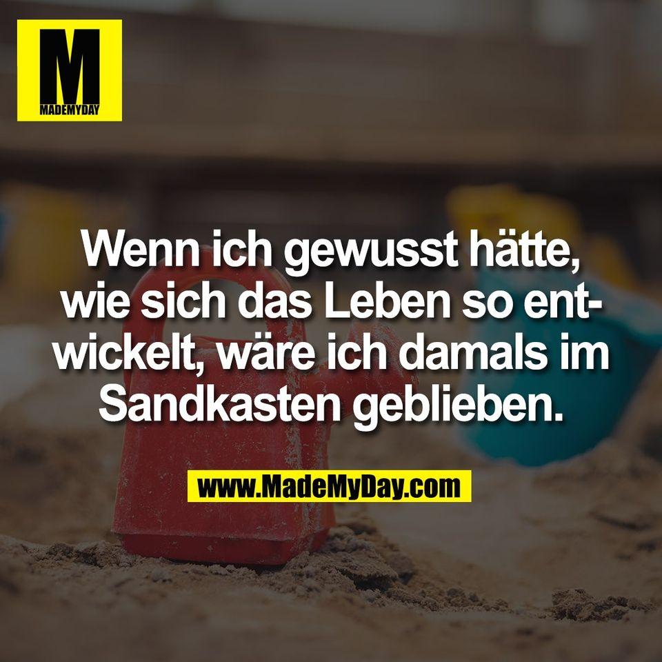 Wenn ich gewusst hätte,<br /> wie sich das Leben so ent-<br /> wickelt, wäre ich damals im<br /> Sandkasten geblieben.