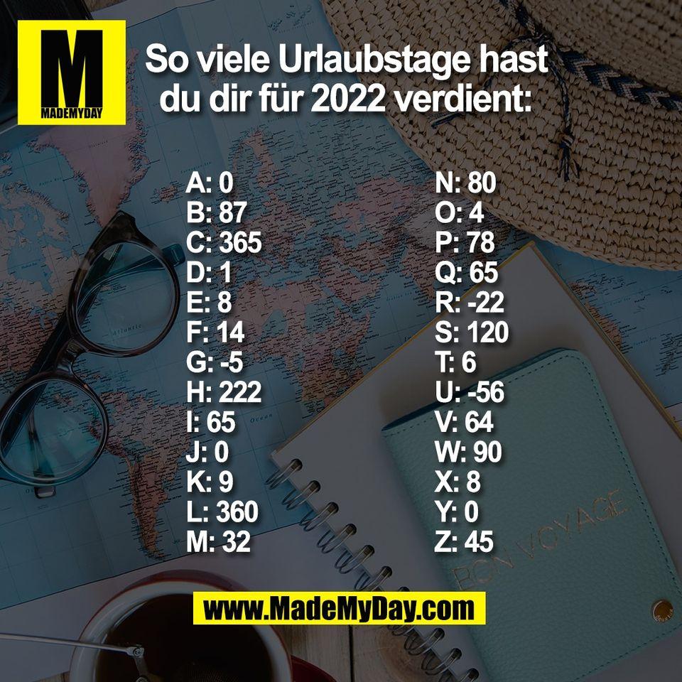 So viele Urlaubstage hast<br /> du dir für 2022 verdient:<br /> (BILD)