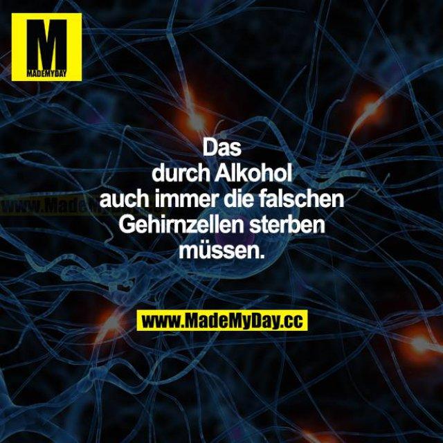 Dass durch Alkohol auch immer die falschen Gehirnzellen sterben müssen.