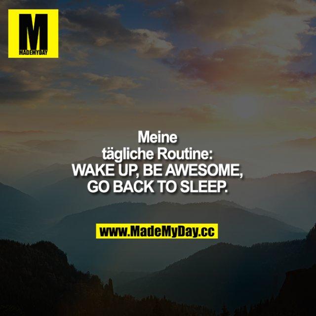 Meine tägliche Routine:<br /> Aufstehen - genial sein - zurück ins Bett.