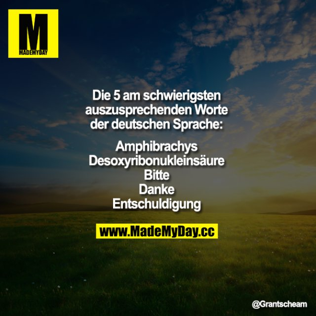 Die 5 am schwierigsten auszusprechenden Worte der deutschen Sprache:<br /> <br /> Amphibrachys<br /> Desoxyribonukleinsäure<br /> Bitte<br /> Danke<br /> Entschuldigung