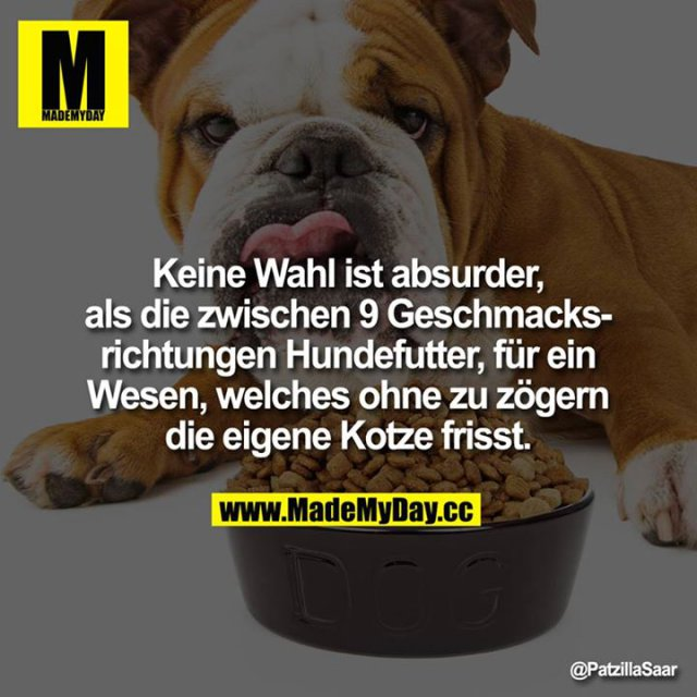 Keine Wahl ist absurder, als die zwischen 9 Geschmacksrichtungen Hundefutter, für ein Wesen, welches ohne zu zögern die eigene Kotze frisst.