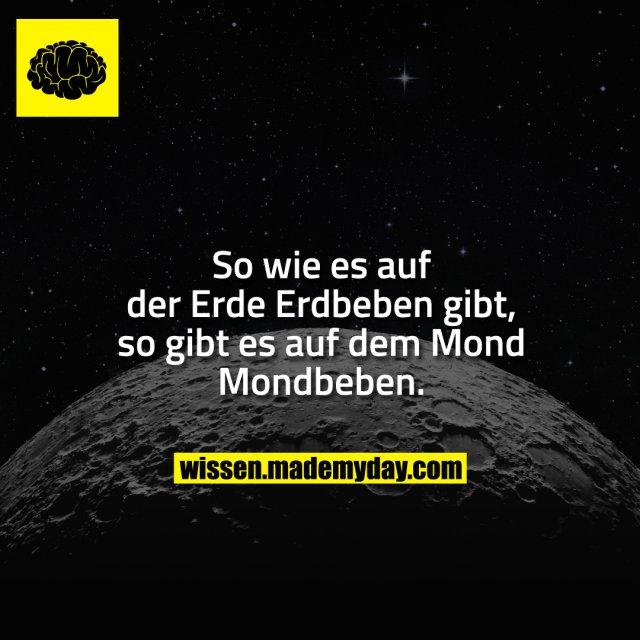 So wie es auf der Erde Erdbeben gibt, so gibt es auf dem Mond Mondbeben.