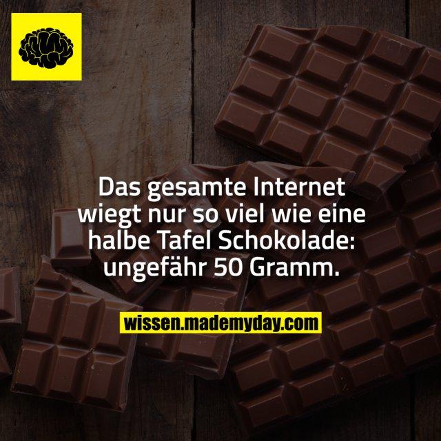 Das gesamte Internet wiegt nur so viel wie eine halbe Tafel Schokolade: ungefähr 50 Gramm.