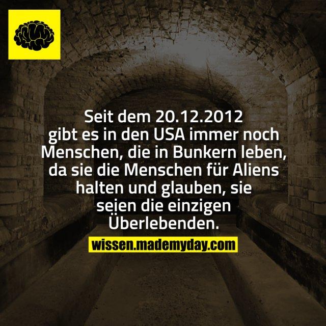 Seit dem 20.12.2012 gibt es in den USA immer noch Menschen, die in Bunkern leben, da sie die Menschen für Aliens halten und glauben, sie seien die einzigen Überlebenden.