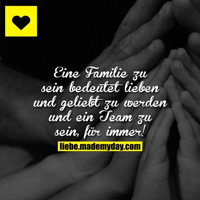 Eine Familie zu sein bedeutet lieben und geliebt zu werden und ein Team zu sein, für immer!
