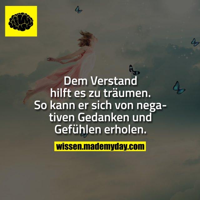 Dem Verstand hilft es zu träumen. So kann er sich von negativen Gedanken und gefühlen erholen.