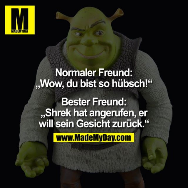 """Normaler Freund:<br /> """"Wow, du bist so hübsch!""""<br /> <br /> Bester Freund:<br /> """"Shrek hat angerufen, er will sein Gesicht zurück."""""""