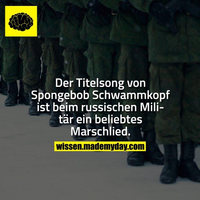 Der Titelsong von Spongebob Schwammkopf ist beim russischen Militär ein beliebtes Marschlied.