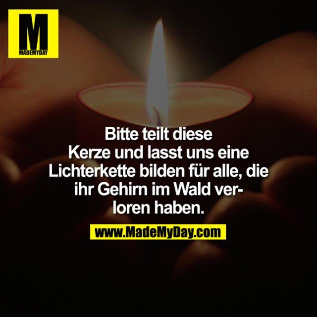 Bitte teilt diese Kerze und lasst uns eine Lichterkette bilden für alle, die ihr Gehirn im Wald verloren haben.