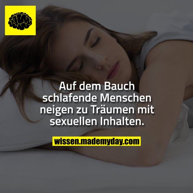 Auf dem Bauch schlafende Menschen neigen zu Träumen mit sexuellen Inhalten.