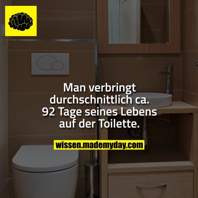 Man verbringt durchschnittlich ca. 92 Tage seines Lebens auf der Toilette.