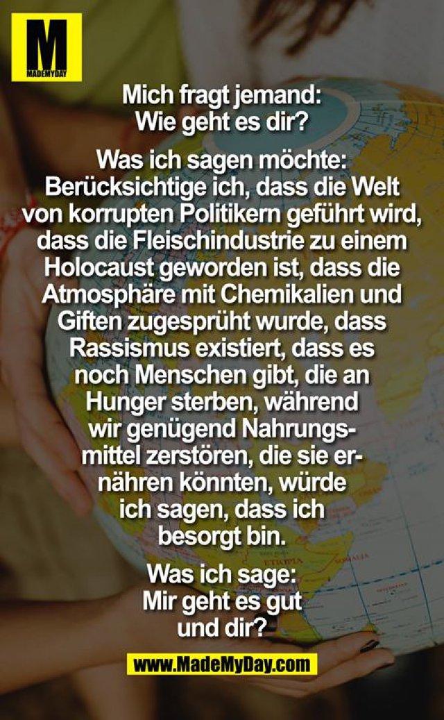 Mich fragt jemand:<br /> Wie geht es dir?<br /> <br /> Was ich sagen möchte:<br /> Berücksichtige ich, dass die Welt<br /> von korrupten Politikern geführt wird,<br /> dass die Fleischindustrie zu einem<br /> Holocaust geworden ist, dass die<br /> Atmosphäre mit Chemikalien und<br /> Giften zugesprüht wurde, dass<br /> Rassismus existiert, dass es<br /> noch Menschen gibt, die an<br /> Hunger sterben, während<br /> wir genügend Nahrungs-<br /> mittel zerstören, die sie er-<br /> nähren könnten, würde<br /> ich sagen, dass ich<br /> besorgt bin.<br /> <br /> Was ich sage:<br /> Mir geht es gut<br /> und dir?