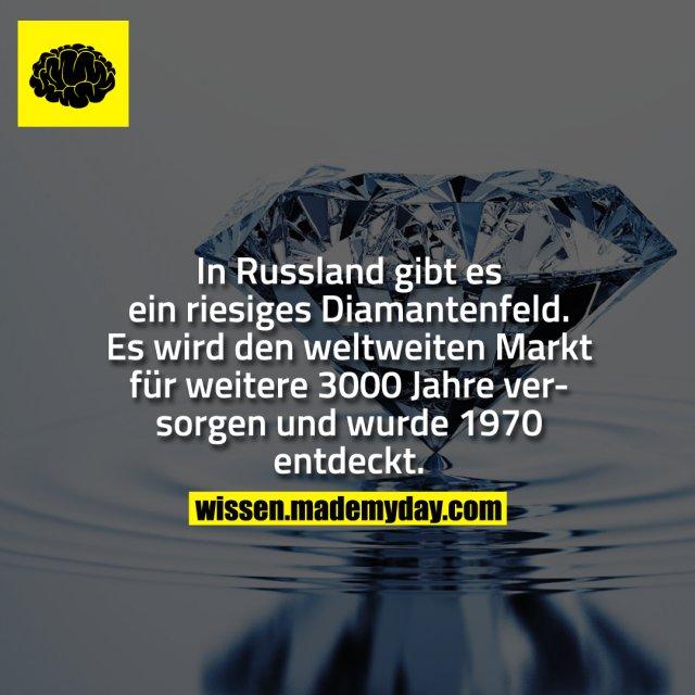 In Russland gibt es ein riesiges Diamantenfeld. Es wird den weltweiten Markt für weitere 3000 Jahre versorgen und wurde 1970 entdeckt.