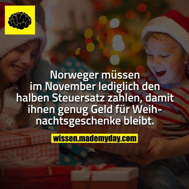 Norweger müssen im November lediglich den halben Steuersatz zahlen, damit ihnen genug Geld für Weihnachtsgeschenke bleibt.