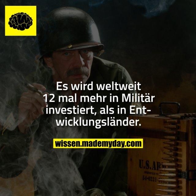 Es wird weltweit 12 mal mehr in Militär investiert, als in Entwicklungsländer.