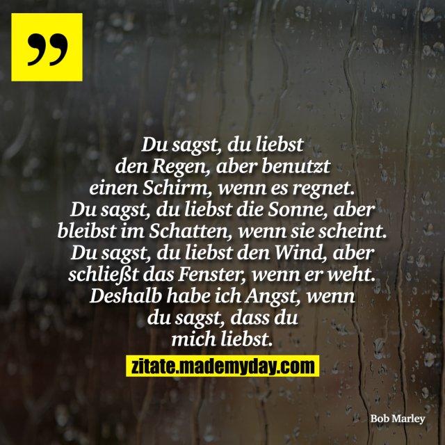 Du sagst, du liebst den Regen, aber benutzt einen Schirm, wenn es regnet. Du sagst, du liebst die Sonne, aber bleibst im Schatten, wenn sie scheint. Du sagst, du liebst den Wind, aber schließt das Fenster, wenn er weht. Deshalb habe ich Angst, wenn du sagst, dass du mich liebst.
