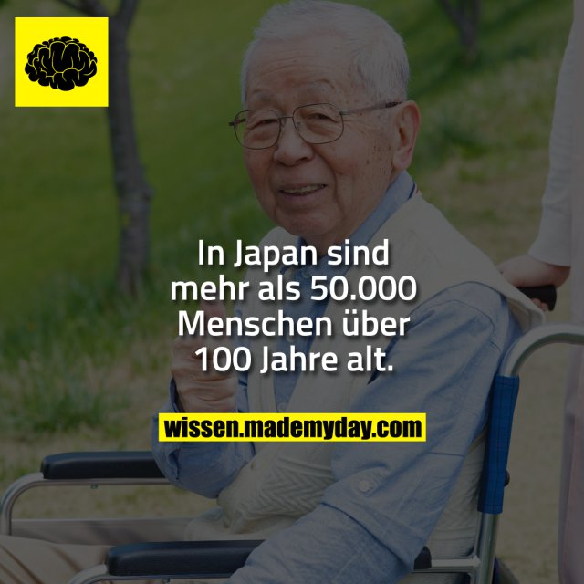 In Japan sind mehr als 50.000 Menschen über 100 Jahre alt.
