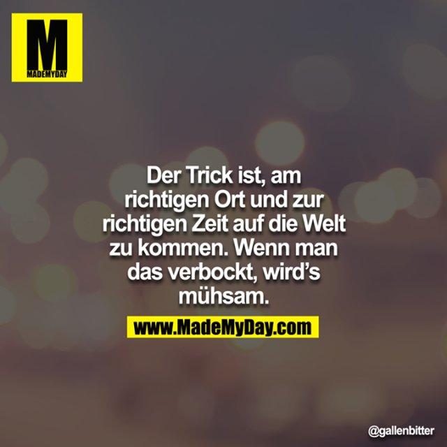 Der Trick ist, am richtigen Ort und zur richtigen Zeit auf die Welt zu kommen. Wenn man das verbockt, wird`s mühsam.