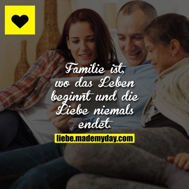 Familie ist, wo das Leben beginnt und die Liebe niemals endet.