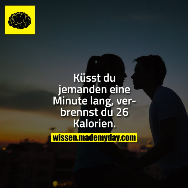 Küsst du jemanden eine Minute lang, verbrennst du 26 Kalorien.