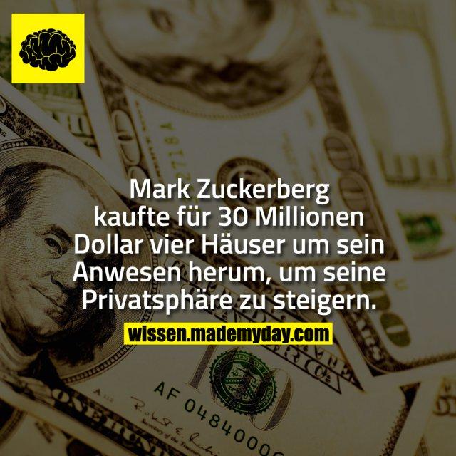 Mark Zuckerberg kaufte für 30 Millionen Dollar vier Häuser um sein Anwesen herum, um seine Privatsphäre zu steigern.
