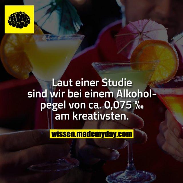 Laut einer Studie sind wir bei einem Alkoholpegel von ca. 0,075 ‰ am kreativsten.