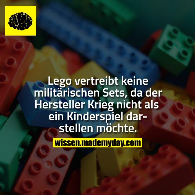 Lego vertreibt keine militärischen Sets, da der Hersteller Krieg nicht als ein Kinderspiel darstellen möchte.