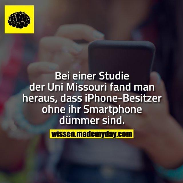 Bei einer Studie der Uni Missouri fand man heraus, dass iPhone-Besitzer ohne ihr Smartphone dümmer sind.