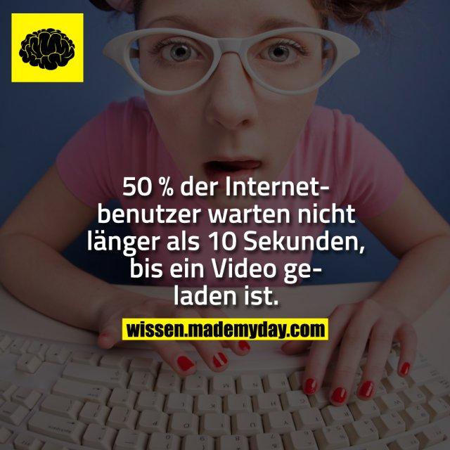 50 % der Internetbenutzer warten nicht länger als 10 Sekunden, bis ein Video geladen ist.