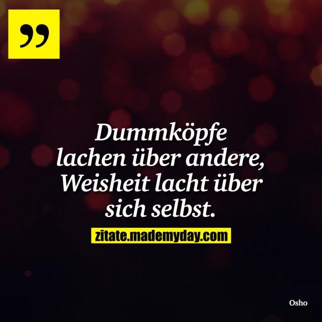 Dummköpfe lachen über andere, Weisheit lacht über sich selbst.